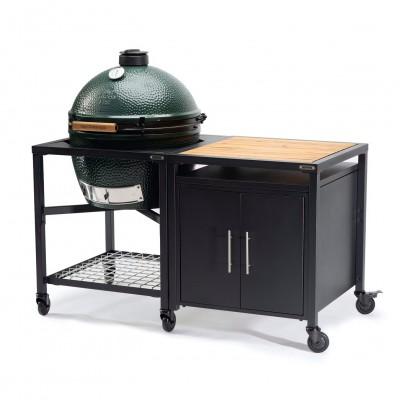 Керамический угольный гриль Big Green Egg XLARGE в каркасном столе c тумбой