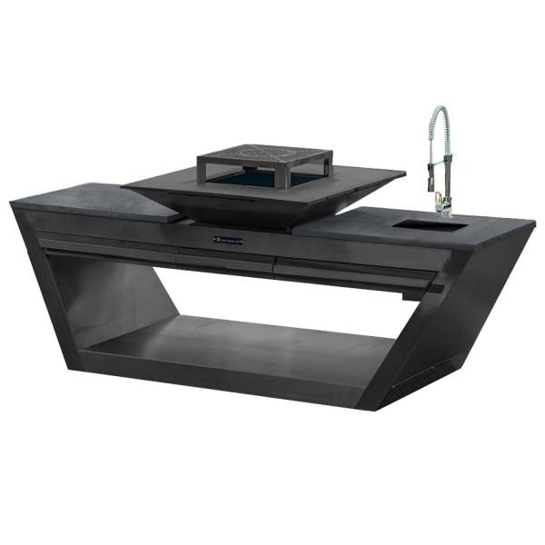 Купить Уличная кухня Quan Rolling Kitchen Carbon GAS с мойкой и водонагревателем на газу - 1002038 в магазине Grill Point