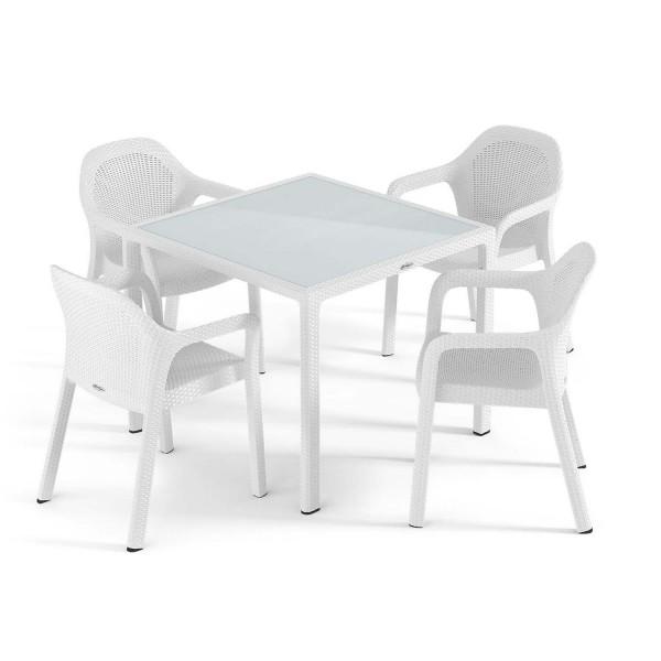 Купить Садовый комплект стол 90 х 90 см + 4 стула Lechuza, белый - 10910-5 в магазине Grill Point