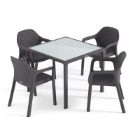 Садовый комплект стол 90 х 90 см + 4 стула Lechuza, серый