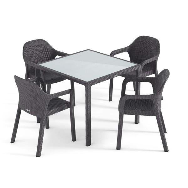 Купить Садовый комплект стол 90 х 90 см + 4 стула Lechuza, серый - 10913-5 в магазине Grill Point