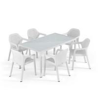Садовый комплект стол 160 х 90 см + 4 стула Lechuza, белый