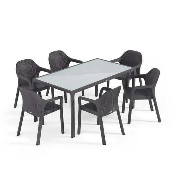 Купить Садовый комплект стол 160 х 90 см + 4 стула Lechuza, серый - 10933-7 в магазине Grill Point