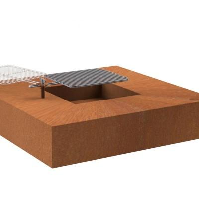Кострище Dr.Fire Квадрат, 120х120 см. с решёткой гриль