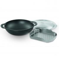 Чугунная сковорода Вок со вставкой-пароваркой и крышкой для Weber Gourmet BBQ System