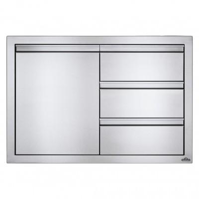 Встраиваемый элемент с 3-мя выдвижными ящиками и отсеком с дверью, малый 91х61 см Napoleon