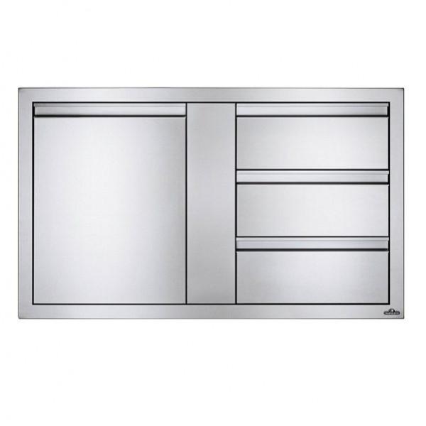 Купить Встраиваемый элемент с 3-мя выдвижными ящиками и отсеком с дверью, большой 107х61 см Napoleon - BI-4224-1D3DR в магазине Grill Point