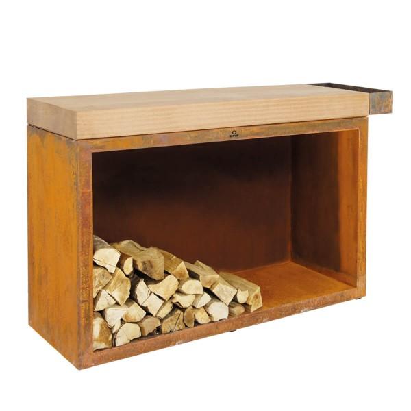 Купить Тумба-стол OFYR c отсеком для хранения дров, большая - Butcher-storage-big в магазине Grill Point
