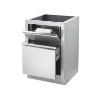 Шкаф выдвижной для отходов с надежным съемным ведром + верхняя полка с держателем для бумажного полотенца Napoleon