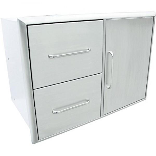 Купить Встраиваемая тумба с дверцей и двумя ящиками SABER Double Drawer with Door Combo - K00AA3114 в магазине Grill Point
