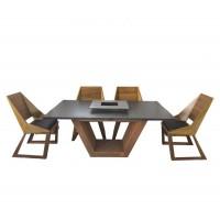 Комплект стол с грилем Quan, на 6 персон, коричневый