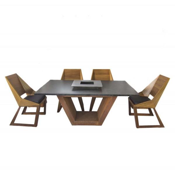 Купить Комплект стол с грилем Quan, на 6 персон, коричневый - QN93063 в магазине Grill Point